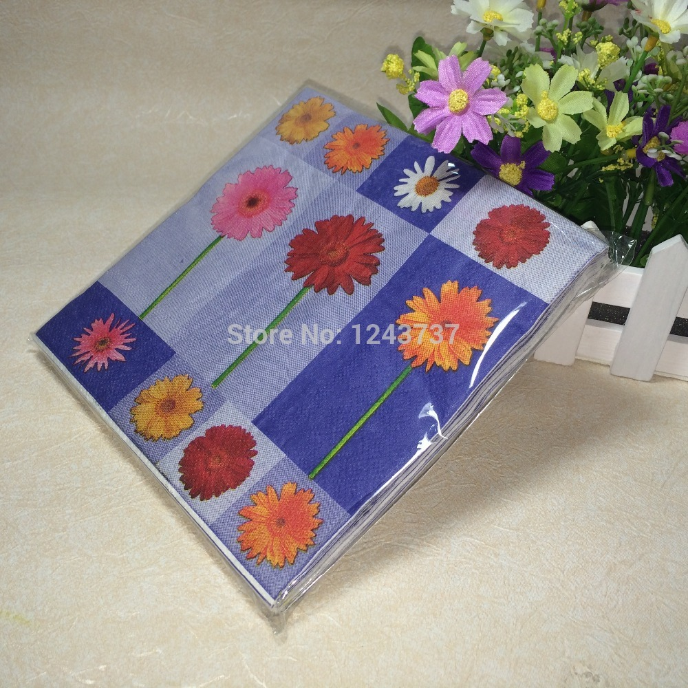 1 pack 20pcs Multicolor purple chrysanthemum flower paper napkins Kids Bithday Party and Dinner and Festive Decoration(China (Mainland))