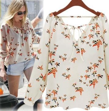 2015 New Fashion Elegant Floral Print Womens Tops Long Sleeve Blouse Casual Vintage Shirt Slim High Quality Brand Designer Tops(China (Mainland))