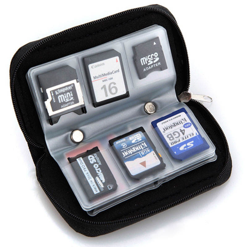 22 SDHC MMC CF Micro SD Memory Card Storage Carrying Pouch Case Holder Black(China (Mainland))
