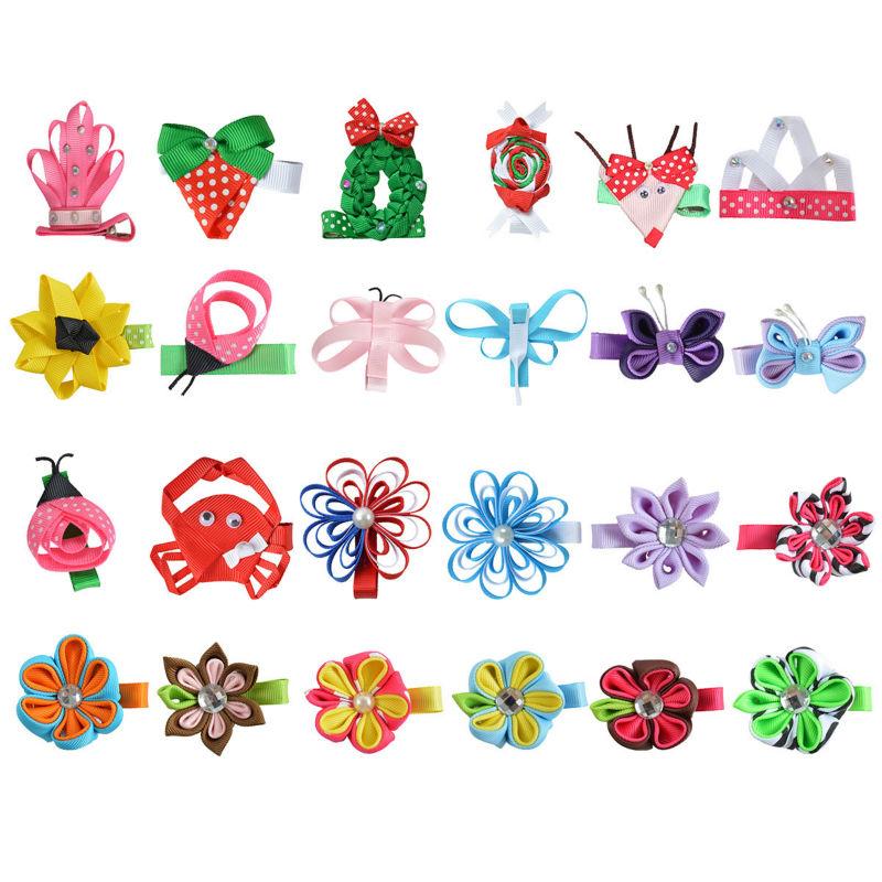 "24PCS 2-2.5"" Flower Hair Clips For Girls baby Thanksgiving Hair bows Handmade Hair pin Ribbon Barrette Hair Accessories XC-A15(China (Mainland))"