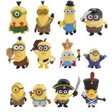 12pcs/lots 2016 New Cartoon Movie Despicable Me 3 3D Eye Anime Cartoon Mini Minions Action Figure Model Toys Gifts Wholesale