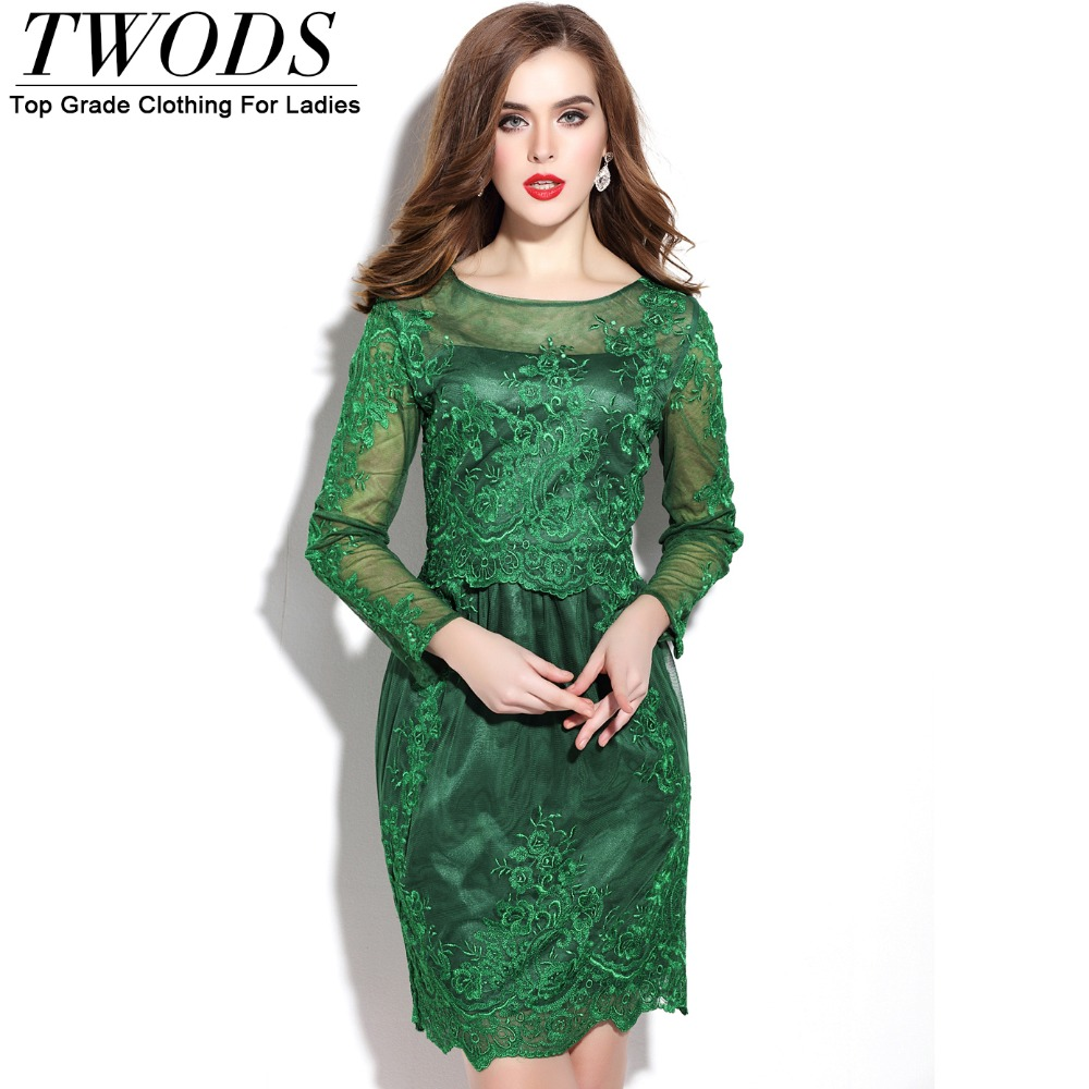 Twods Elegant Embroidery Ladies Party Short Dress Mesh Paneled Long Sleeve O-neck Slim Cut Women Formal Dresses Green Beigge