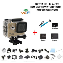 sj8000 sport actie video camera 4K 24fps camera WiFi Actioncam go waterproof pro camera add monopod battery charger 32Gcard(China (Mainland))