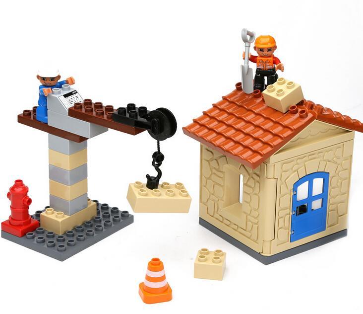 Large Size Cranes Construction Team Building Blocks Duplos 34pcs Classic Toys Educational Baby Toy Gifts Legoelieds(China (Mainland))