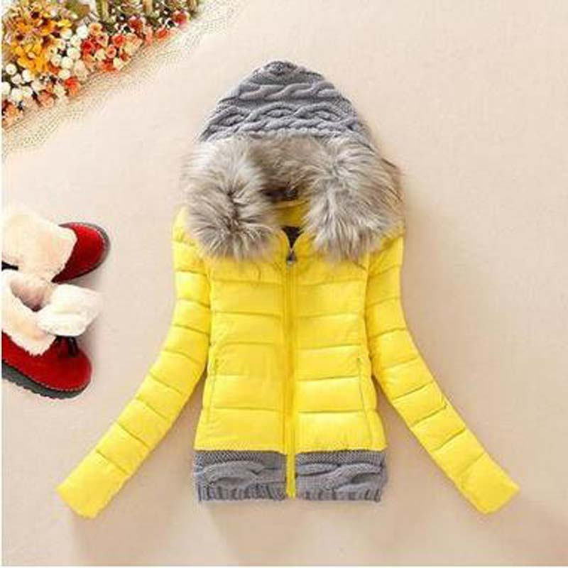 2016 new women fashion cotton wool stitching casual female jacket coat fur collar slim winter AE948