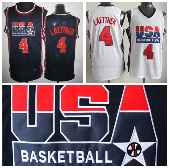 1992 Olympic Dream Team USA Jerseys Basketball 4 Christian Laettner Jersey Shirt Rev 30 New Material Home Blue White Top Quality(China (Mainland))