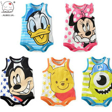 Sleeveless Cartoon Print Baby Rompers Newborn Baby Boys Girls Clothes Jumpsuits Infant Baby Costumes Ropa De Bebe Summer Wear