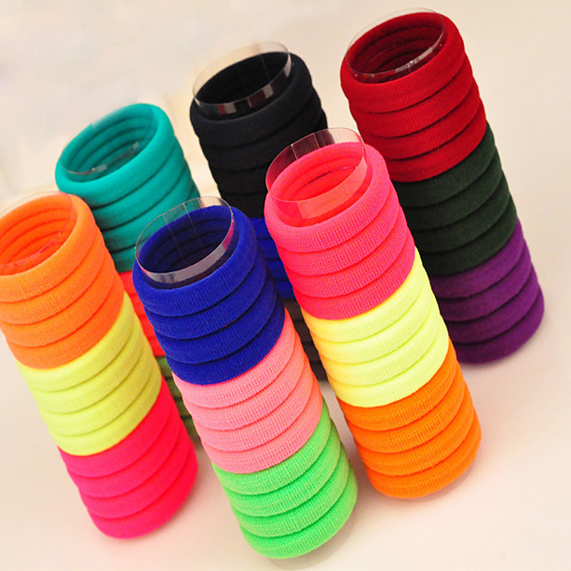 VNFNMI 10Pcs/Lot Candy Fluorescence Colored Hair Holders High Quality Rubber Bands Hair Elastics Accessories Girl Women Tie Gum(China (Mainland))