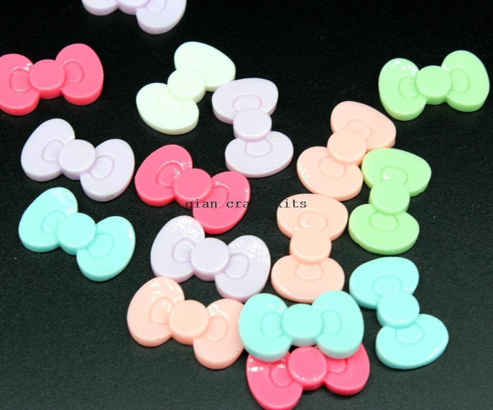 200pcs big medium pastel color Kitty Resin Bows Kawaii Cute Cabochons 30mm Flatback Flat Back Bow mix colors(China (Mainland))