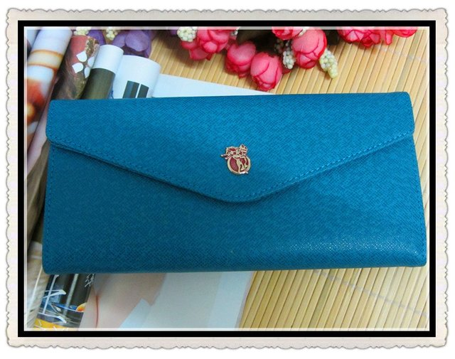 Free Shipping Women's Leather Long Wallets with Metal fittings