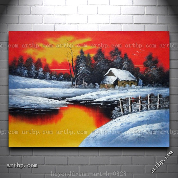A Snow Coverd Cottage In Winter Forest At Christmas Sunset Oil Painting Cafe Art Panel Art Huge Picture Painting Free Shi(China (Mainland))