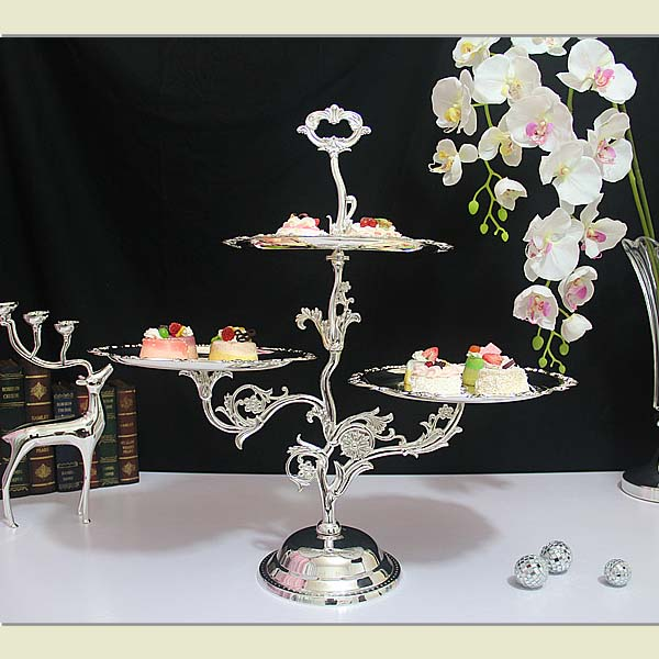 3 Shelves silver dessert tray iron art cake stand for wedding party decoration cupcake holder fruit plate for cakes display(China (Mainland))