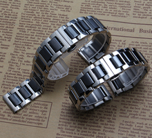 Silver stainless steel metal wrap ceramic Black White Watchband Bracelets for men womens diamond Watches Hours 16mm 18mm 20mm