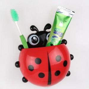 Creative home life daily toiletries creative cute ladybug powerful suction toothpaste toothbrush holder storage box(China (Mainland))