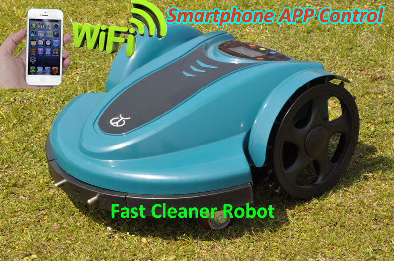 Free Shipping SmartPhone App Wifi Control Robot Grass Mower Machine With Lead-acid battery,range function,compass function(China (Mainland))