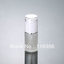 30ML  frosted glass bottle with white press pump,  lotion bottle for cosmetic packaging