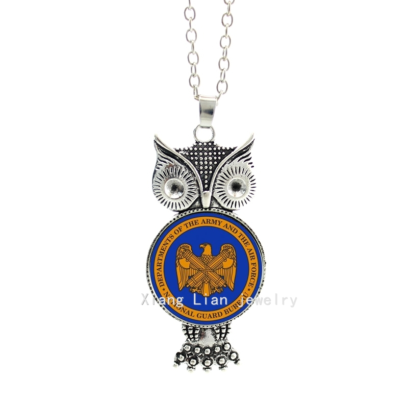 Fashion military pendant necklace National Guard Bureau Departments of the Army and the Force accessory for women MI009(China (Mainland))