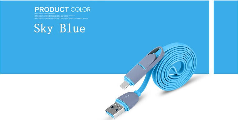 USB Data Charger Cable 8pin 2 in 1 Micro USB Cable For iPhone 6 6s Plus 5s 5 iPad mini Samsung Sony HTC Android Phone
