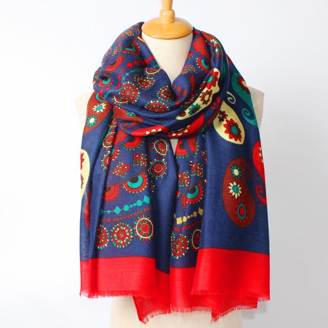 2016 новое поступление зима мода женщины национальный ветер кешью печатных длинный хлопка с 180 см шарф большие шали
