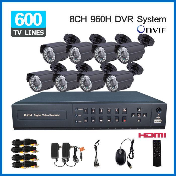 8ch Security Outdoor waterproof day Night Camera 8 channel cctv 960H D1 recording DVR video surveillance System kit HDMI 1080P(China (Mainland))
