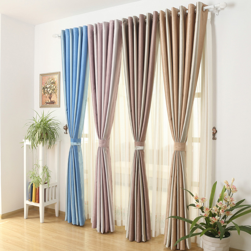 95% Blackout Curtain Fabrics For Bedroom Insulated Thermal Drapes Thick Damask Drapery Soundproof Striped Window Treatments(China (Mainland))