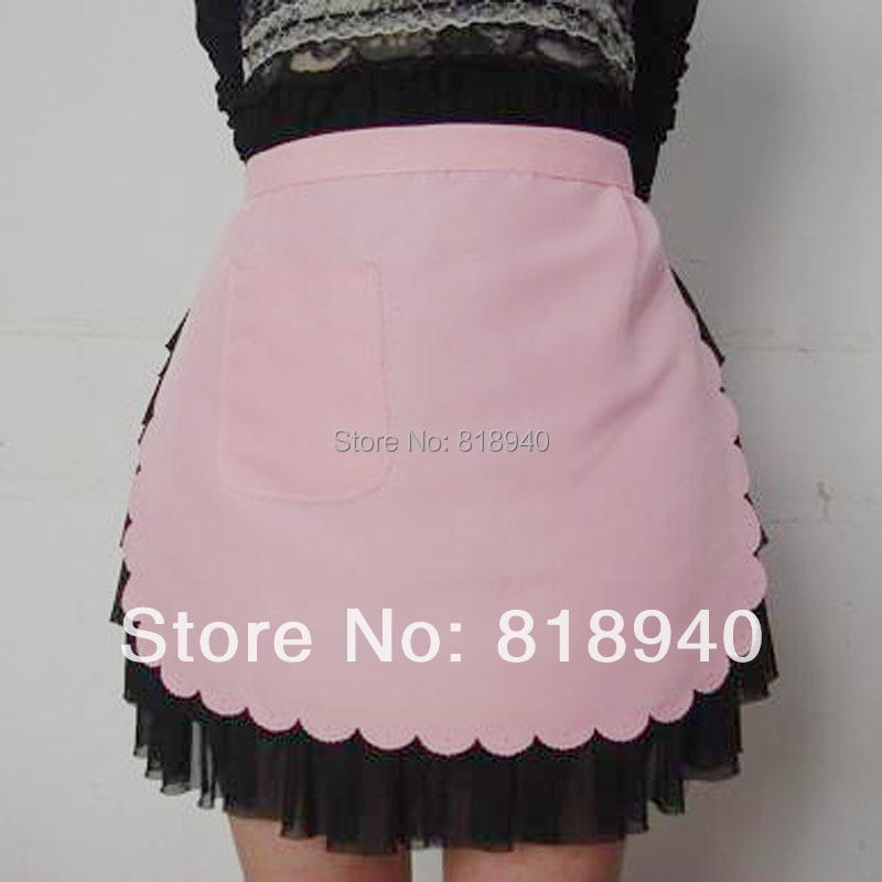 Waitress Apron Restaurant Cafe Bar Cosplay Fancy Dress Pinny Pink/White Women(China (Mainland))