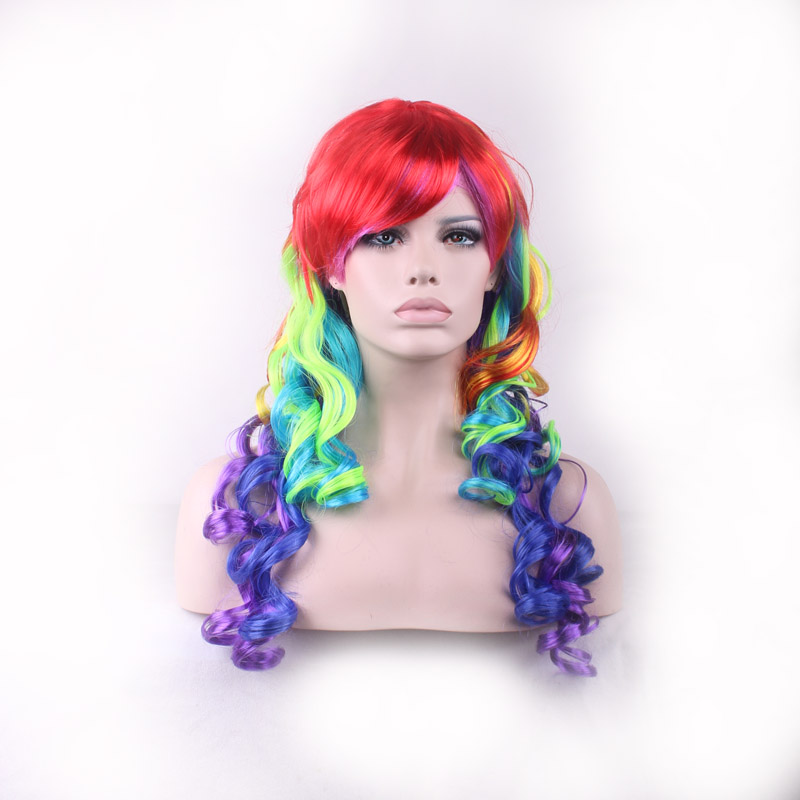 discounts long wavy wig cosplay ombre synthetic wigs curly rainbow wig heat resistant women hair multi colored party wigs cheaps(China (Mainland))