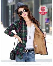 2016 Women's Autumn And Winter Fleece Shirt Plaid Fleece Shirt Female Slim Long-sleeve Cotton Top Female Shirt Camisa Feminina(China (Mainland))