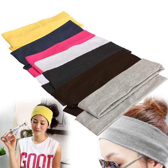 New Unisex Stretch Elastic Headband Gym Yoga Cotton Exercise Sports Sweat Head Hair Band 2PCS(China (Mainland))