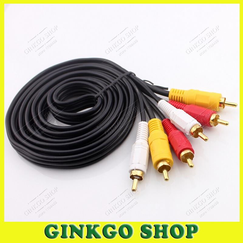 2piece/lot Gold-plated Lotus 3 to 3  RCA Male Audio Component Convert Cable Audio Video Connection<br><br>Aliexpress