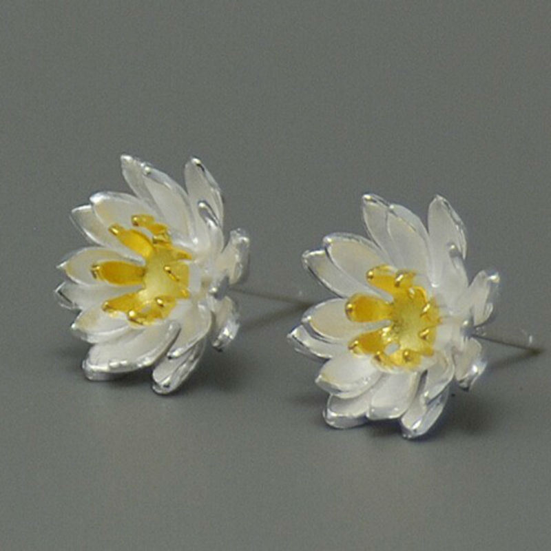 925-sterling-silver Stereoscopic Lotus flowers earrings stud earrings silver jewelry boucle d'oreille earrings CE057(China (Mainland))