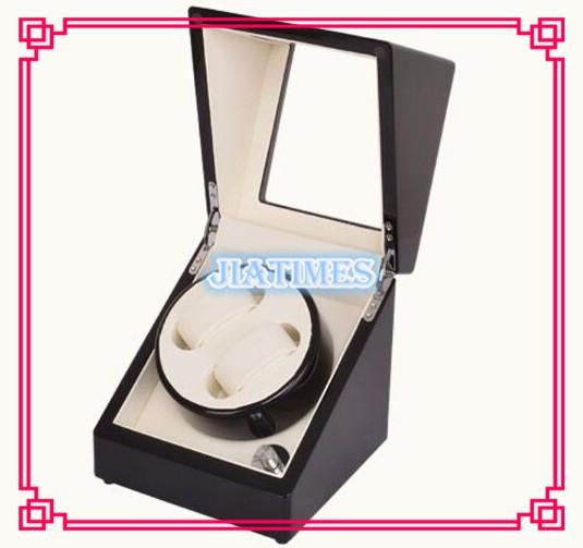 Luxury 2 Black + White Watch Auto Winder Black Wood Case Cream Velvet Interior Lock Wooden Watch Winder
