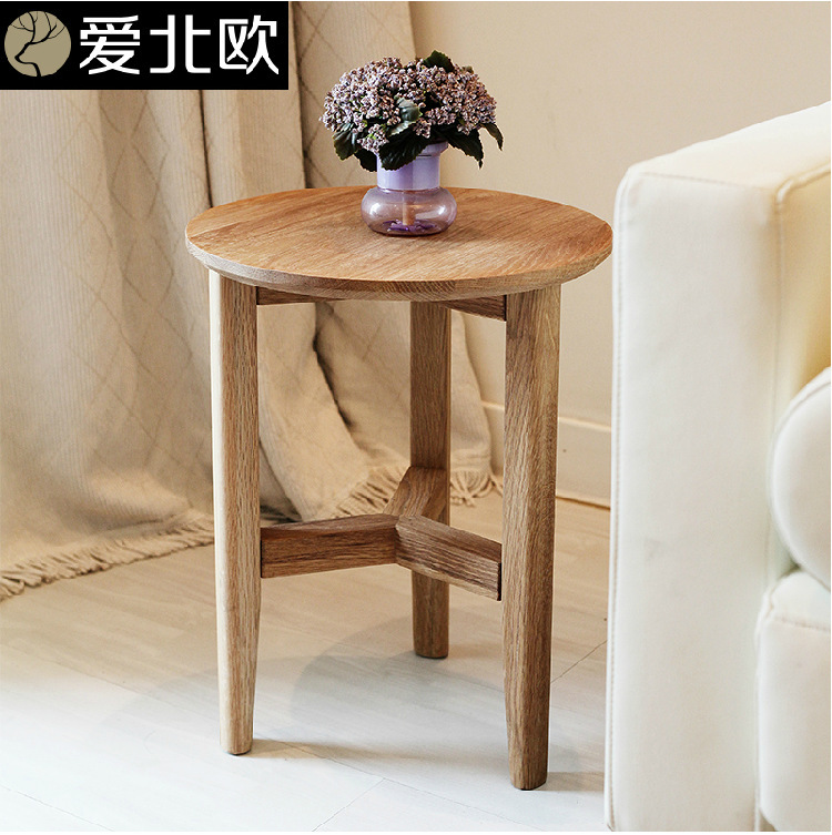 Simple table small tea table side table solid wood for Small wooden side table