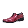 cheap man wedding shoes solid orange red blue color mens glossy party shoes patent leather dress