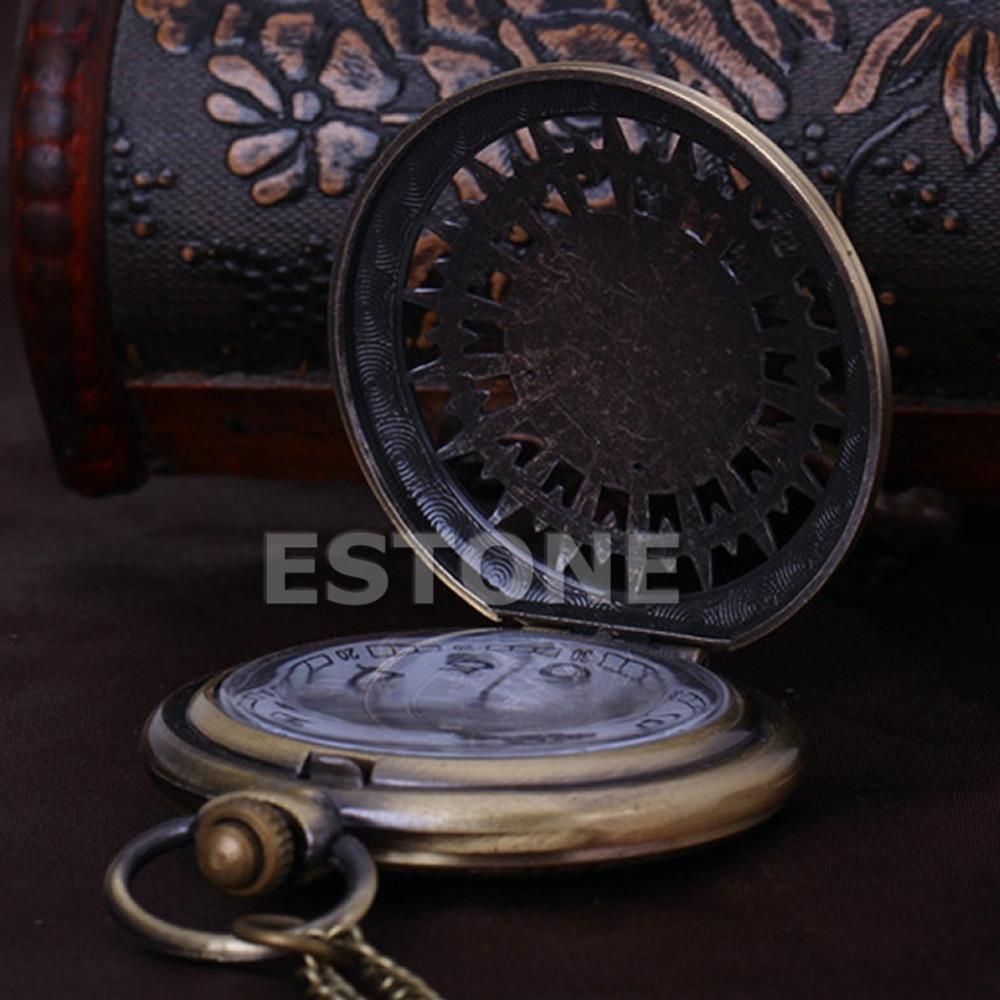 G104 2015Newest New Men Women Retro Bronze Quartz Chain Pendant Pocket Watch Stars Hollow free shipping