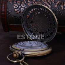 G104 2015Newest New Men Women Retro Bronze Quartz Chain Pendant Pocket Watch Stars Hollow free shipping