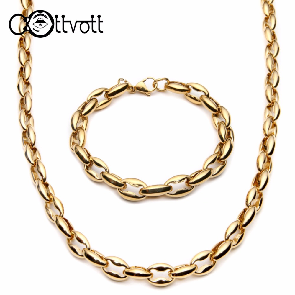 heavy gold plated coffee beans link chain necklace