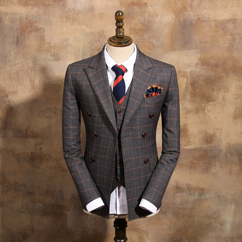Fashion orange crowben ash plaid double breasted slim suit ...