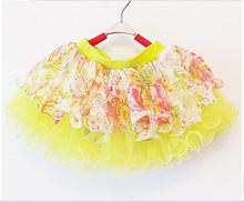 2014 summer fashionable new floral chiffon three-layer network super fairy girl small short skirt free shipping(China (Mainland))