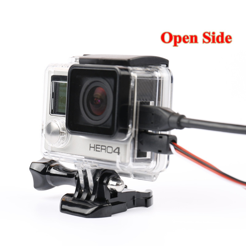 Go Pro 4 Accessories Skeleton Protective case Housing Side-opening & Backdoor with hole with lens glass for GoPro Hero 3+/4