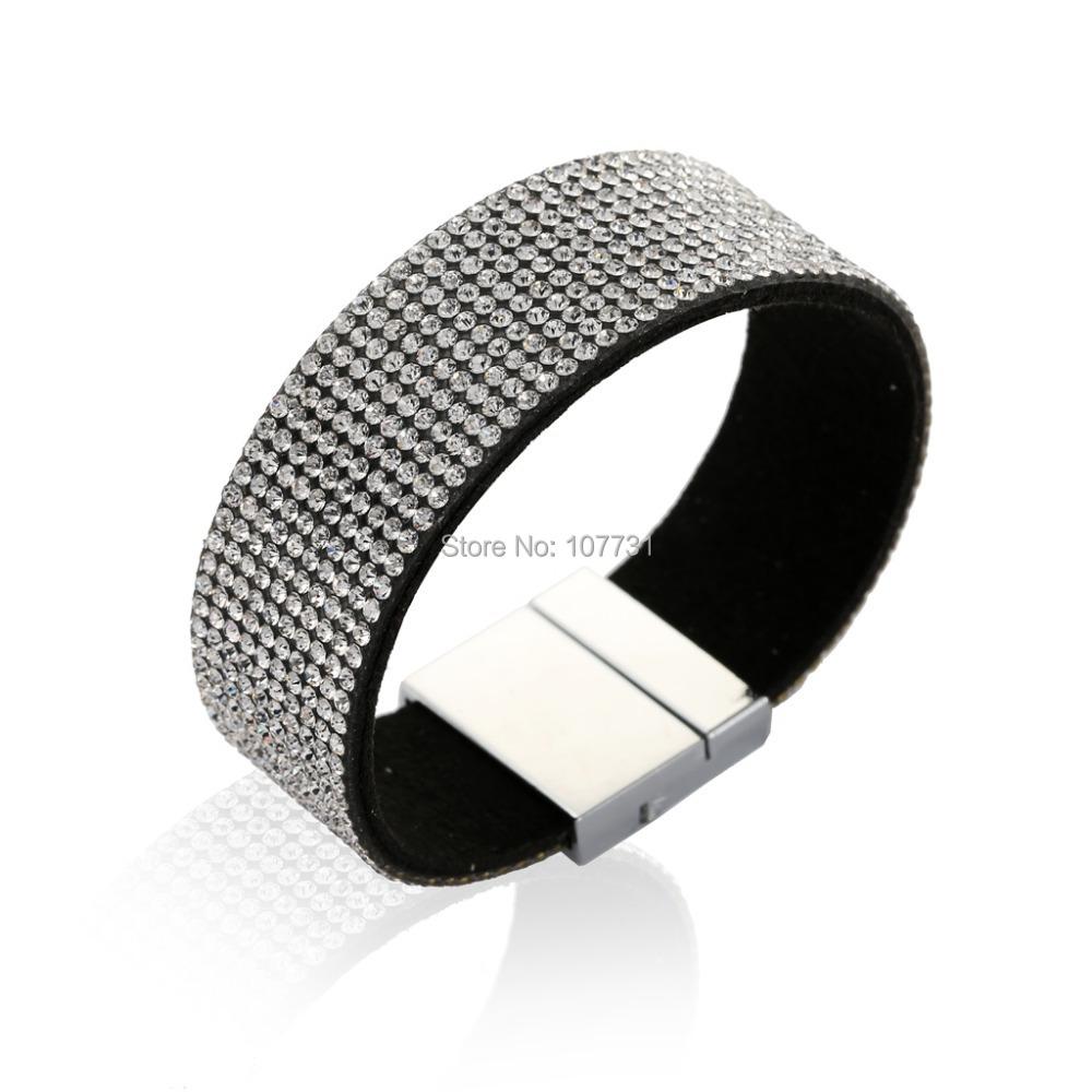 2015 Fashion New Women Men Bracelets Leather Wide Punk Full Rhinstone Luxury Bangle Statement Jewelry - W-Watch store