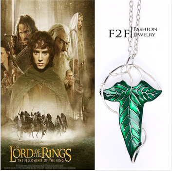 MV 13 2014 Fashion The Lord Of The Rings Elven Green Leaf With Chains Fan Gift