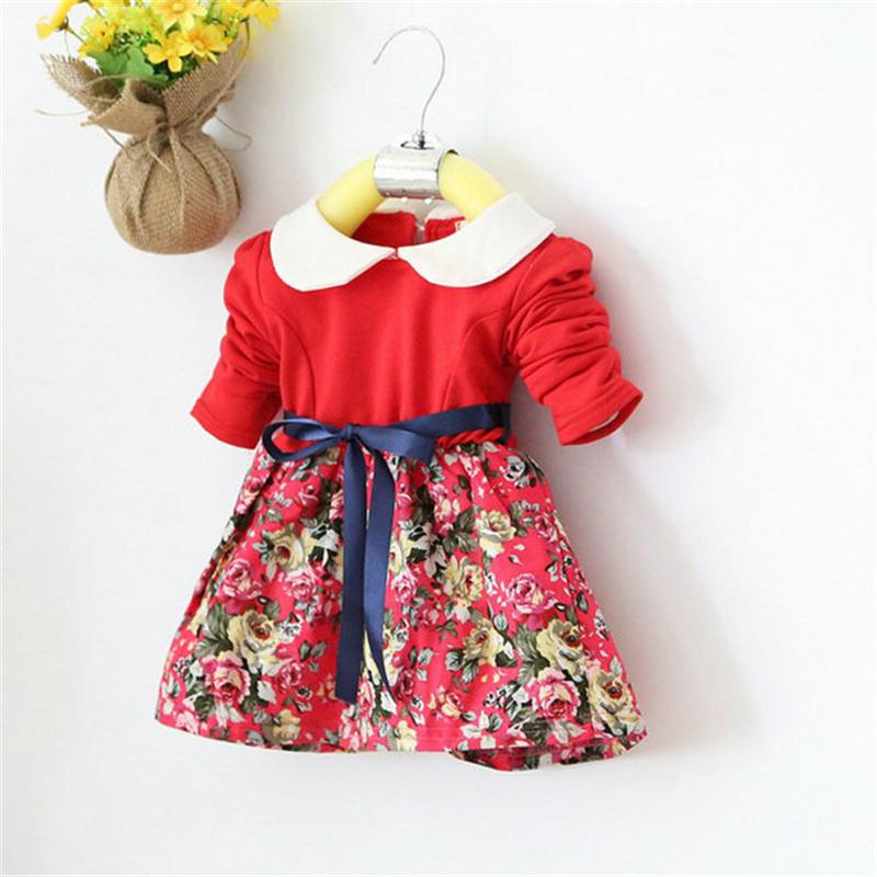 1-5Y Kids Baby Girls Princess Long Sleeve Pleat Floral Bow Mini Dress Party Tutu Dresses PY2<br><br>Aliexpress