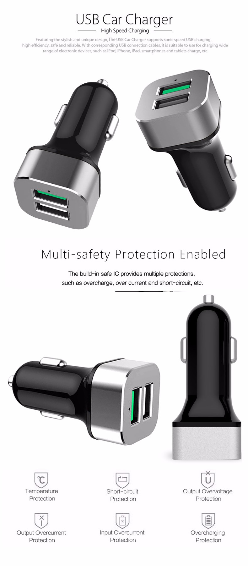 SEGSI Quick Charge Dual USB Car Charger usb 2 QC 3.0 Fast Charger Adapter for iPhone iPad Samsung HTC Xiaomi QC2.0 Compatible
