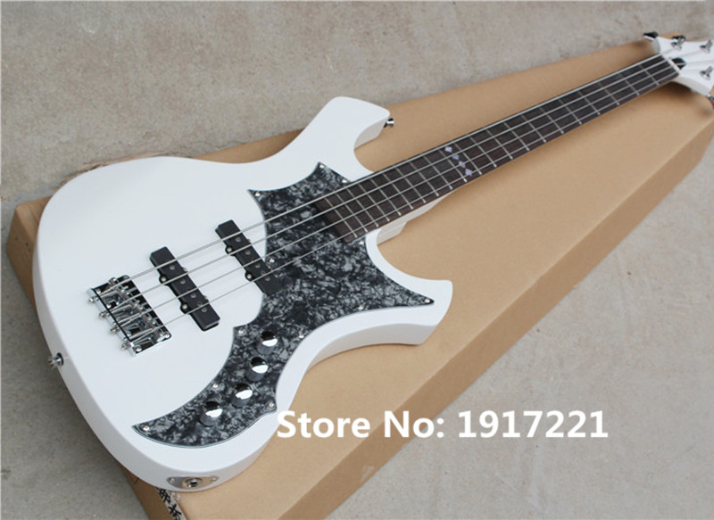 4-String Electric Bass with White Body,Grey Pearl Pickguard,Rosewood Fretboard,Special Fret Marks Inlay,Can be Customized(China (Mainland))