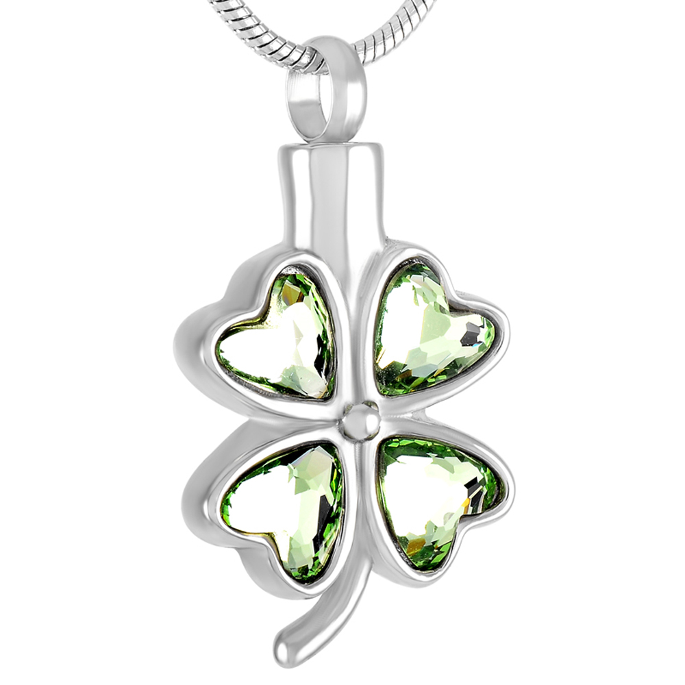 CMJ8223 5pcs/Lot New Products Green Clover Ash Lockets Cremation Urn Pendants Necklace Stainless Steel Collar(Pendant Only )(China (Mainland))