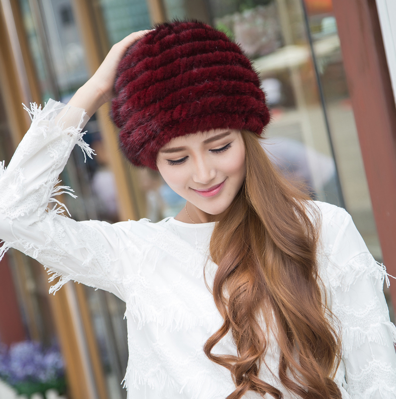 2016 New Hand Made Queen Style 100% Real Mink Fur Knitted Hat Women's Winter Fur Hat and Cap Free Shipping DL-10332(China (Mainland))