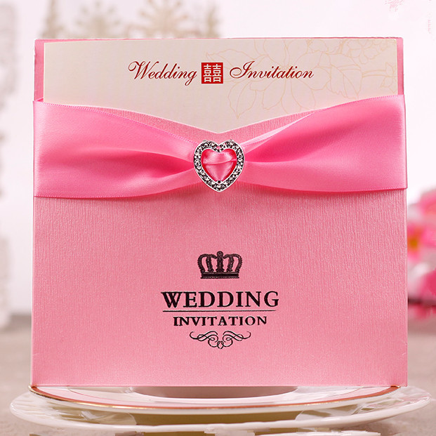 Wholesale Color Pink Red Wedding Invitation Card With