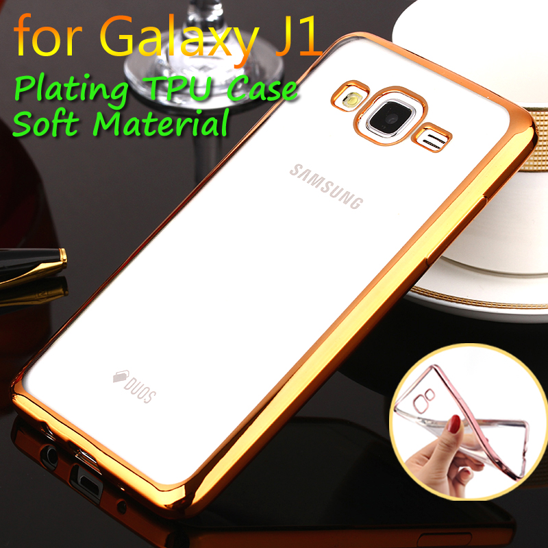 Phone Case For Samsung Galaxy J1 Plating Soft TPU Cases Transparent Rubber Mobile Phone Cover For Samsung J100 Wiht 4 Color(China (Mainland))