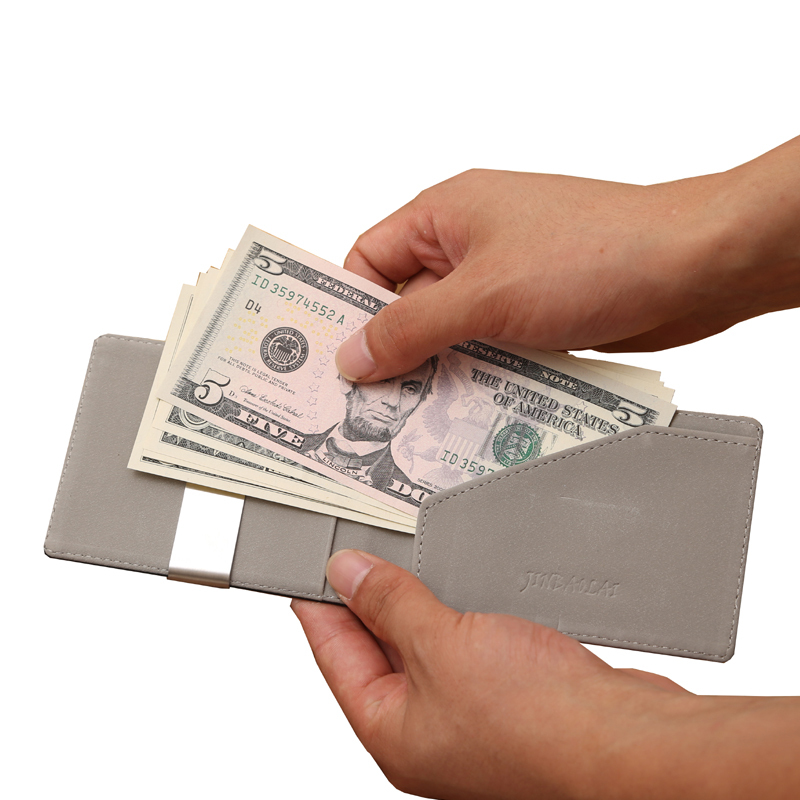2015 New Men Wallet Faux Leather Silver Money Clip stainless steel money clip holder Slim Wallets(China (Mainland))
